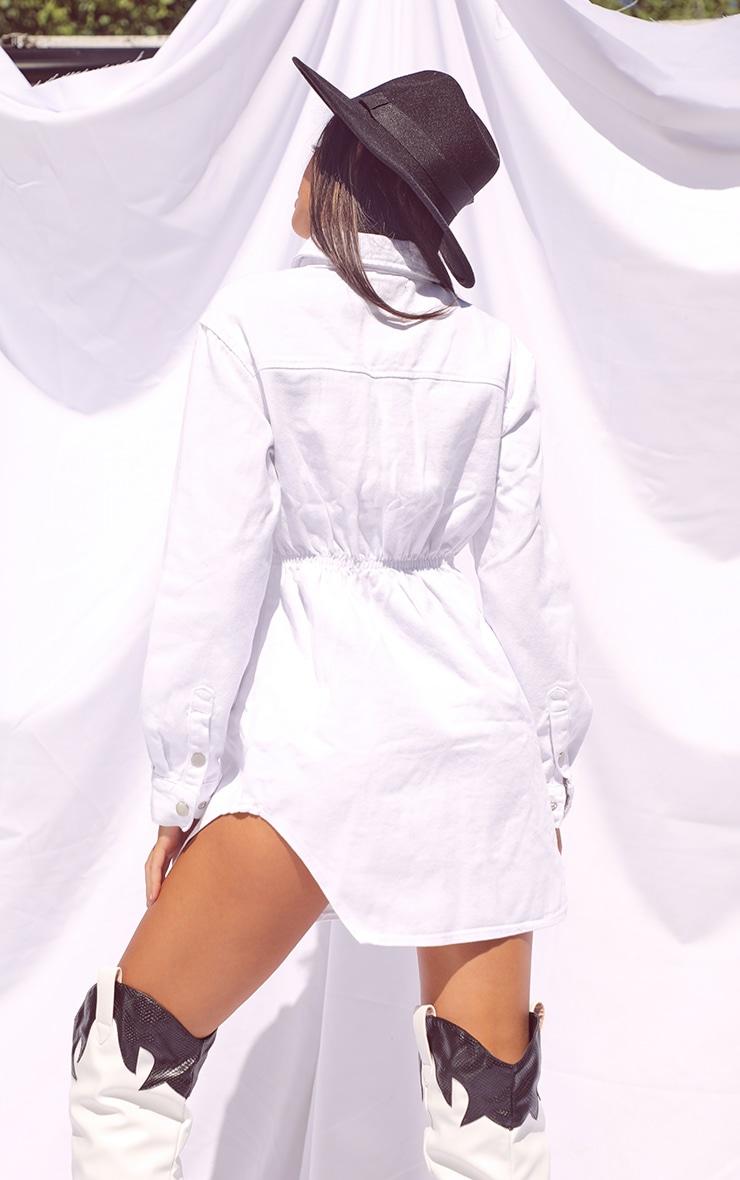 White Cinched Waist Long Sleeve Denim Dress 2