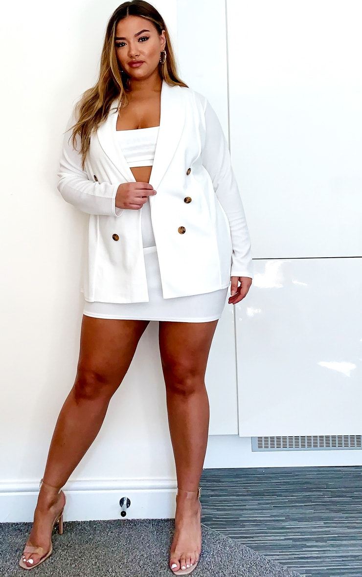 Plus Cream Oversized Button Detail Blazer 3