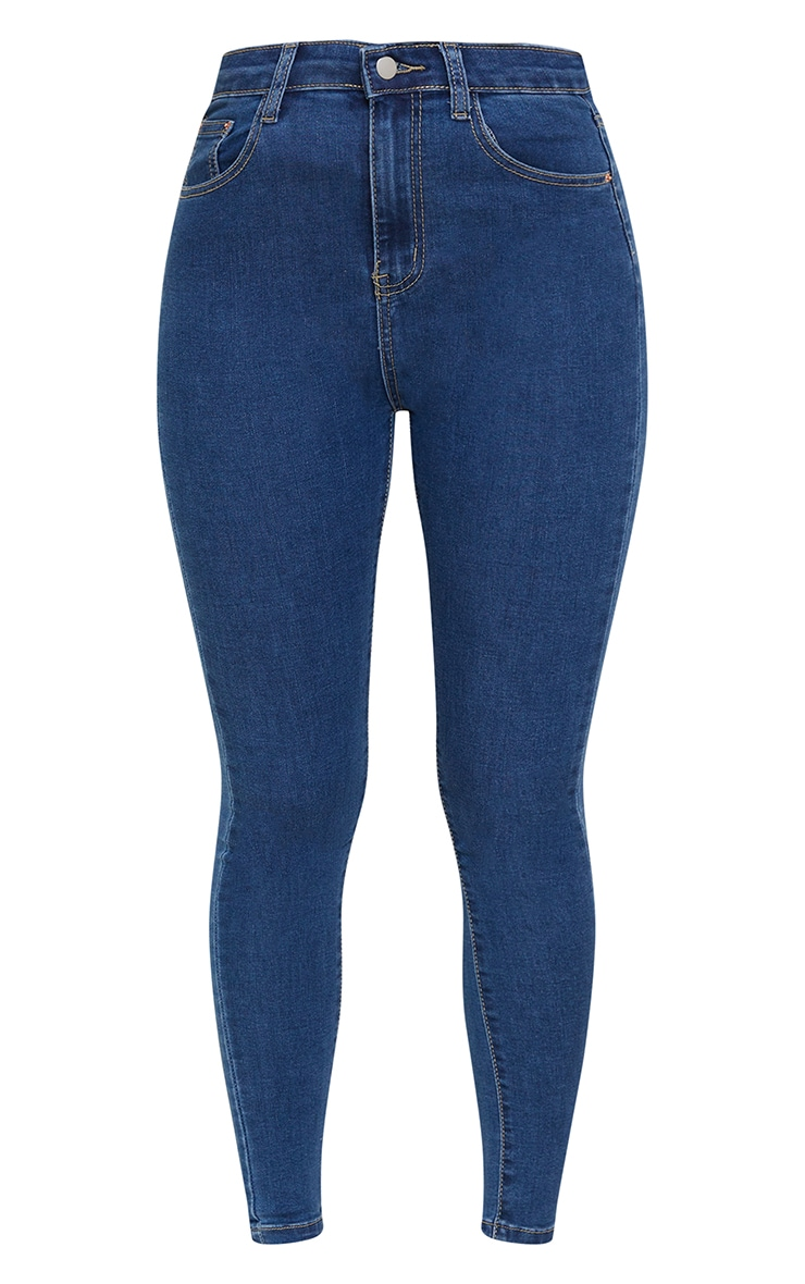PRETTYLITTLETHING Mid Blue 5 Pocket Skinny Jeans 5