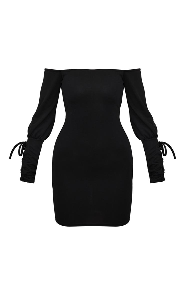 Black Lace Up Sleeve Bardot Bodycon Dress 1