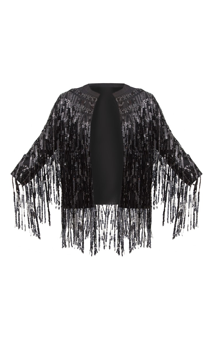 Black Sequin Fringed Jacket 3