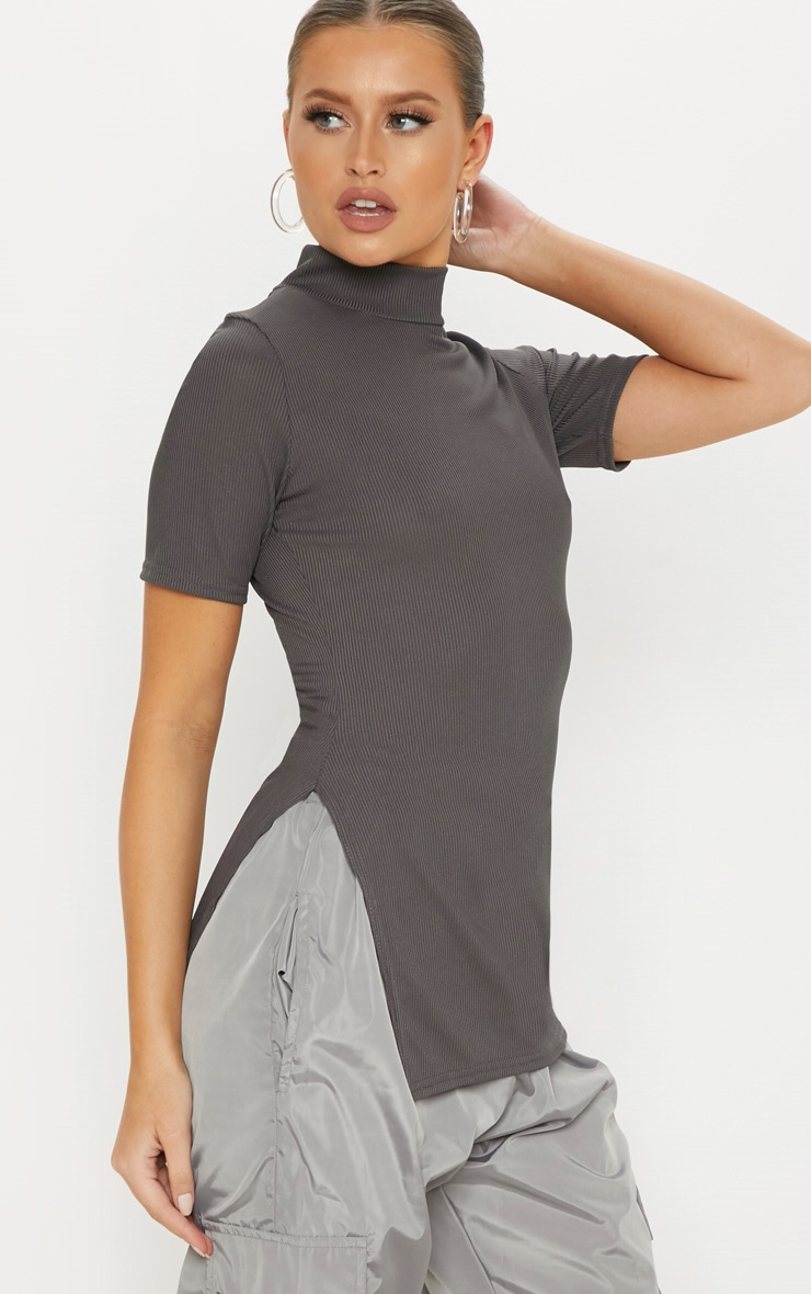 Charcoal Grey High Neck Split Side Top