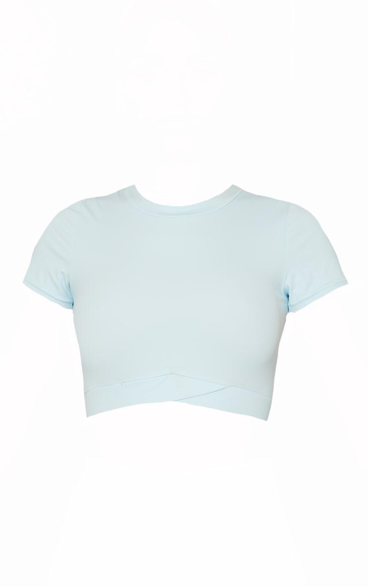 Baby Blue Sculpt Luxe Cross Hem Gym Crop T-Shirt 5
