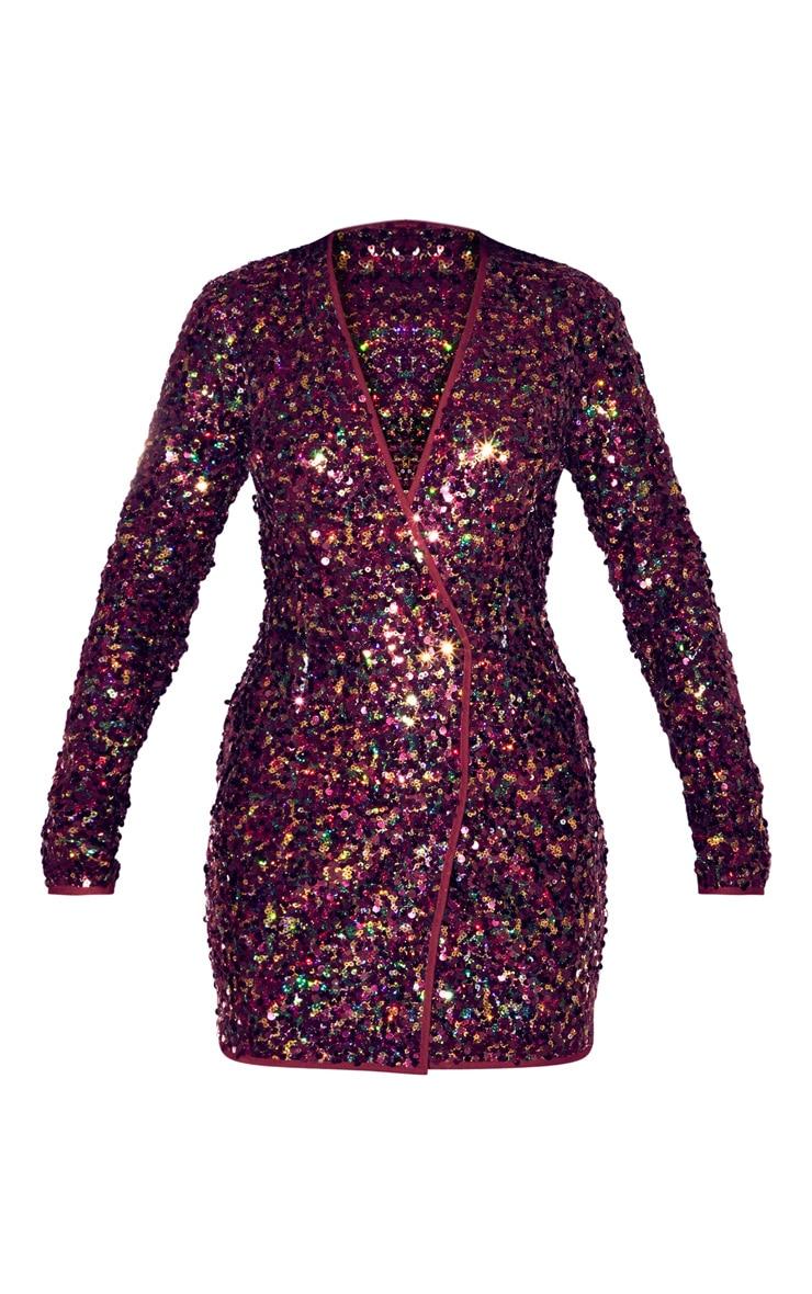 Burgundy Sequin Long Sleeve Blazer Dress 3