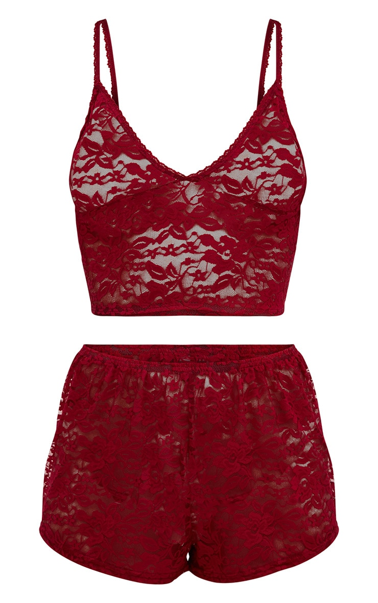 Burgundy All Over Lace Crop Top And Short Set 3