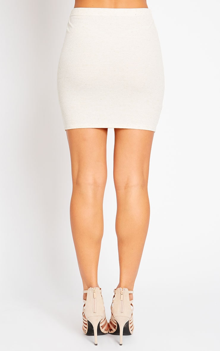Honey Cream Ribbed Mini Skirt 4