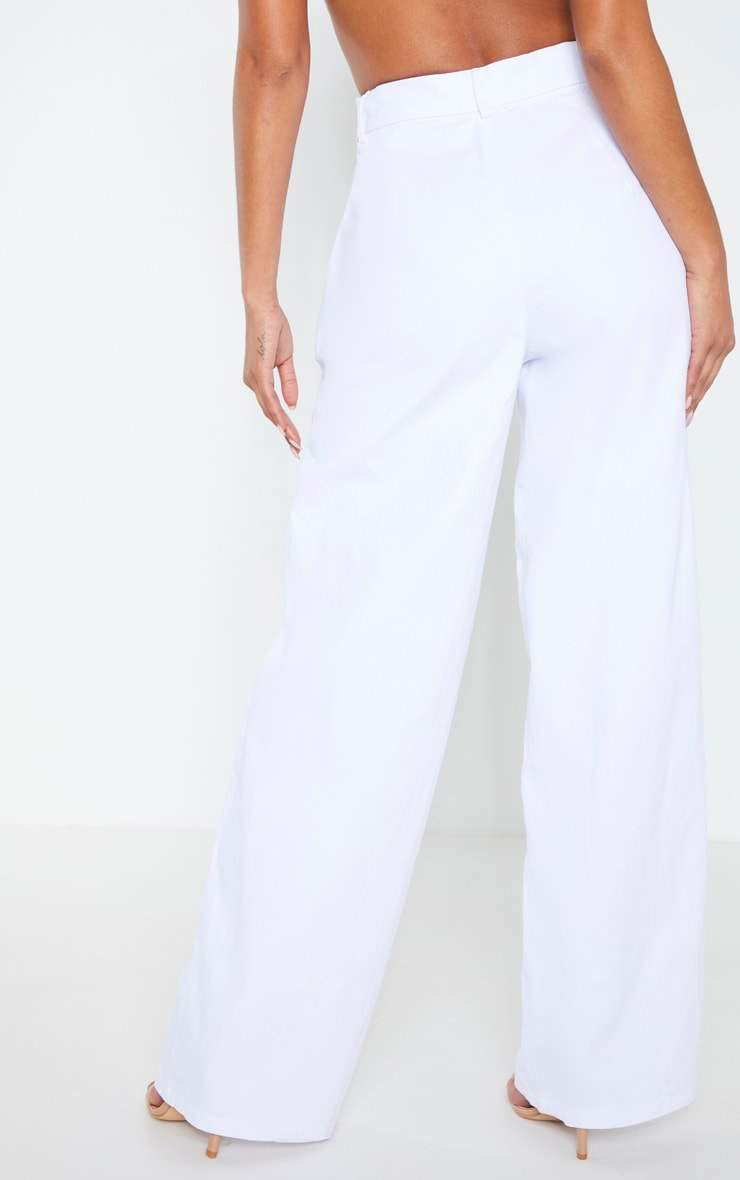White Chambray Belted Woven Wide Leg Pants 2
