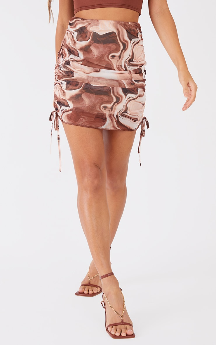 Brown Abstract Printed Mesh Ruched Side Mini Skirt 2