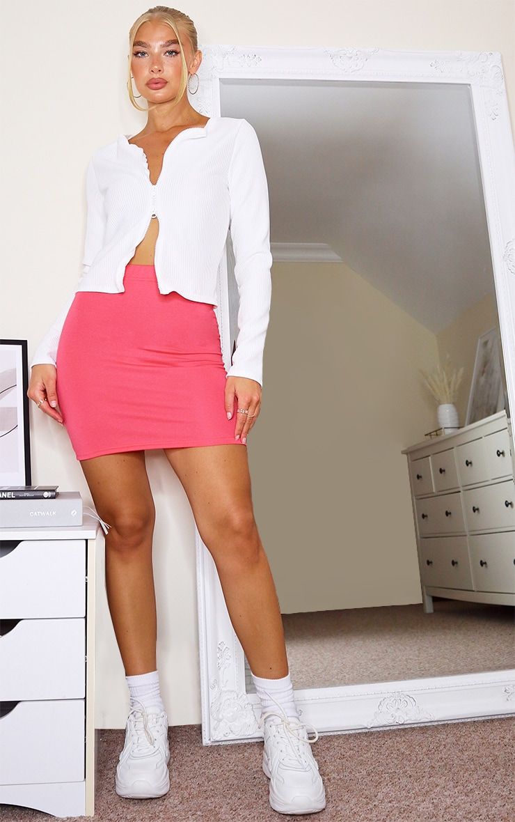 Coral Basic Jersey Mini Skirt 3