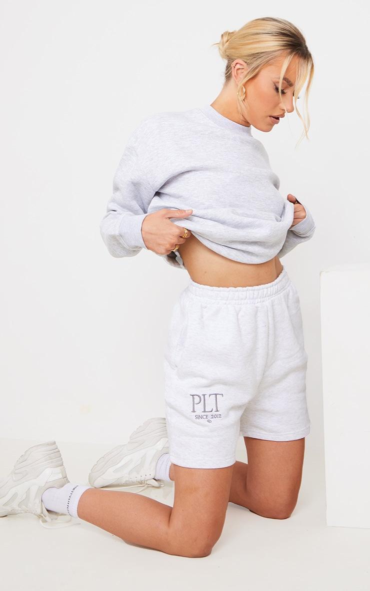 PRETTYLITTLETHING Ash Grey Established Graphic Sweat Shorts 4
