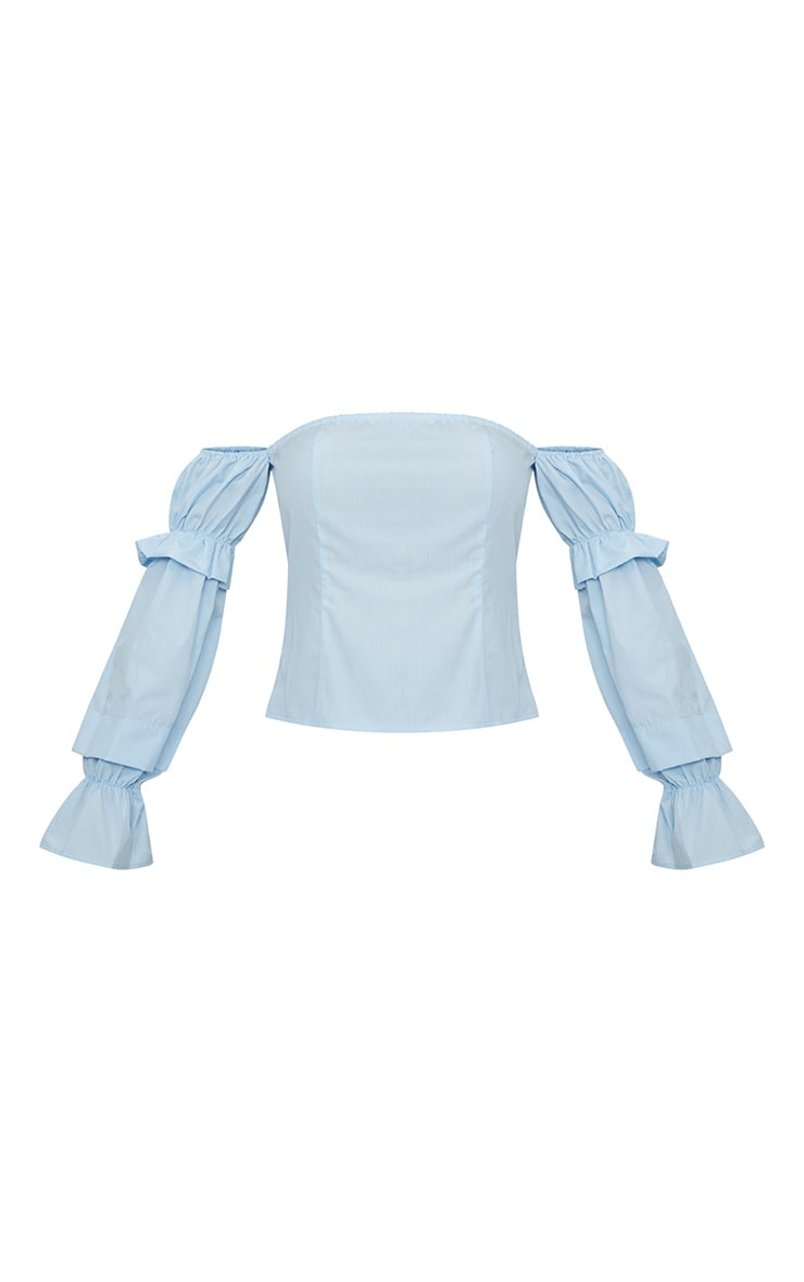 Blue Ruched Long Sleeve Bardot Top  3