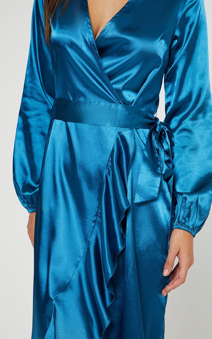 Wrap Plunge Frill Detail Long Sleeve Satin Midaxi 4