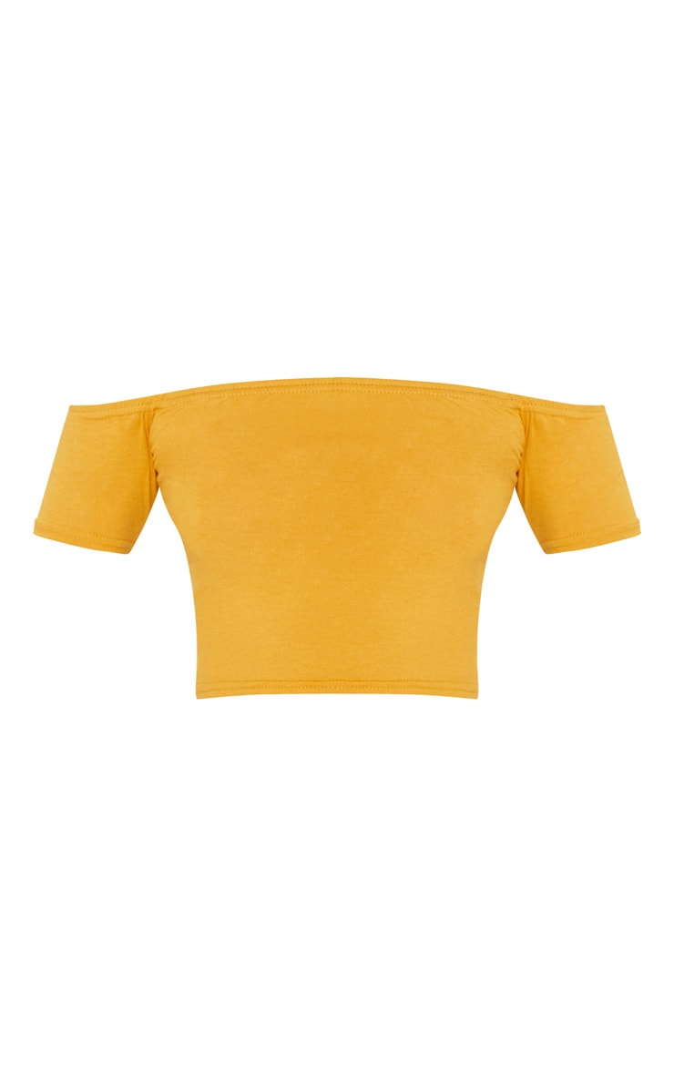 Basic Mustard Bardot Crop Top 3