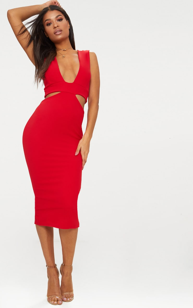 Red Plunge Cut Out Side Midi Dress 1
