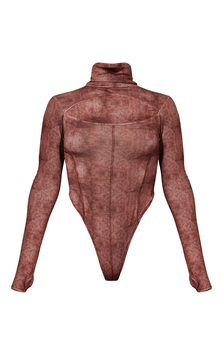 Brown High Neck Acid Wash Cut Out Seam Detail Bodysuit 5