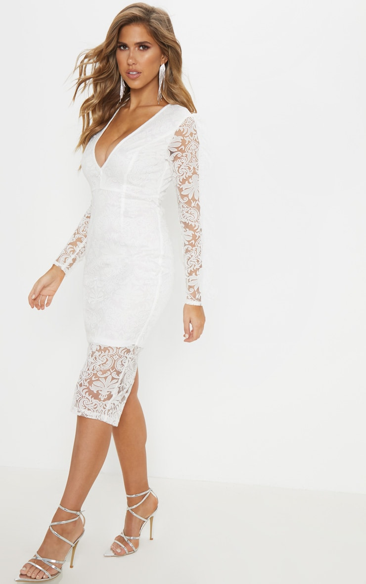 White Lace Plunge Frill Sleeve Midi Dress 4