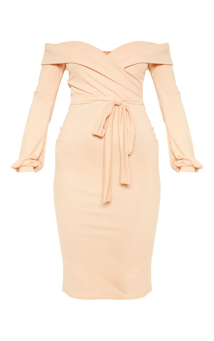 Fawn Long Sleeve Wrap Bardot Midi Dress 3