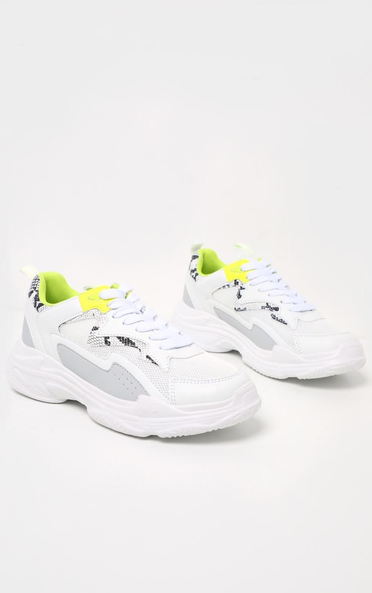 White Neon Snake Sneakers 3