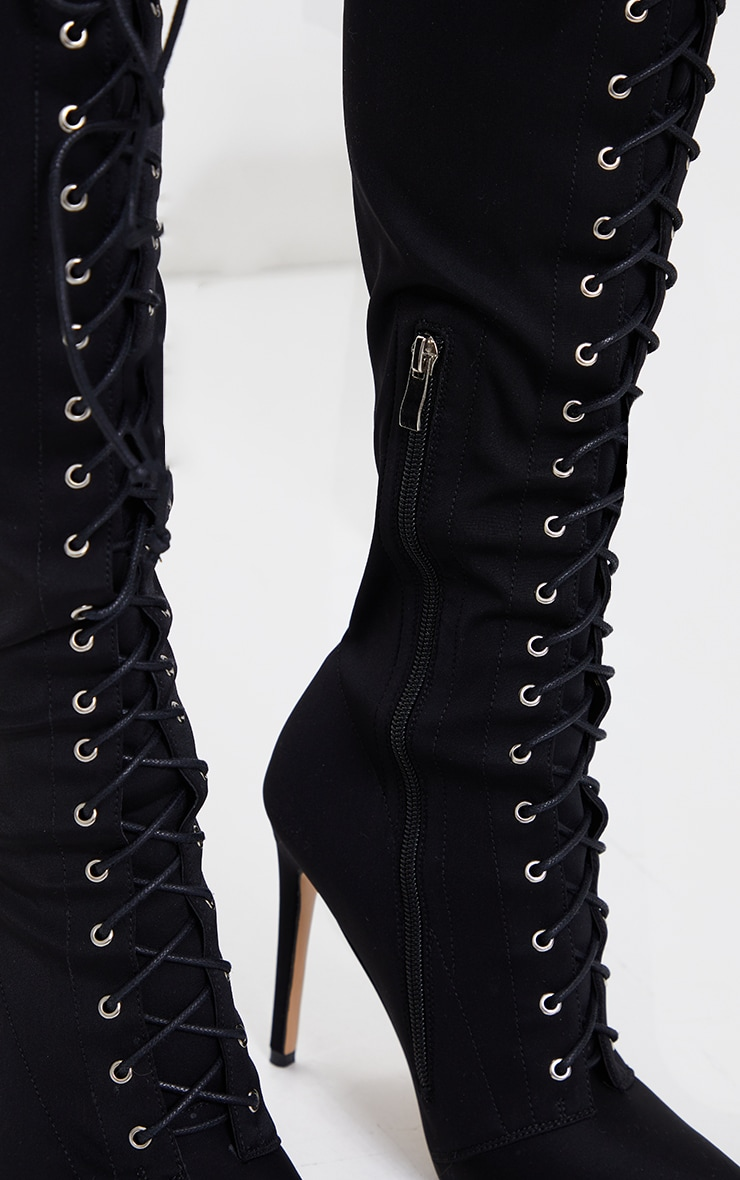 Black Lycra Lace Up Pointed Toe Stiletto Boots 3