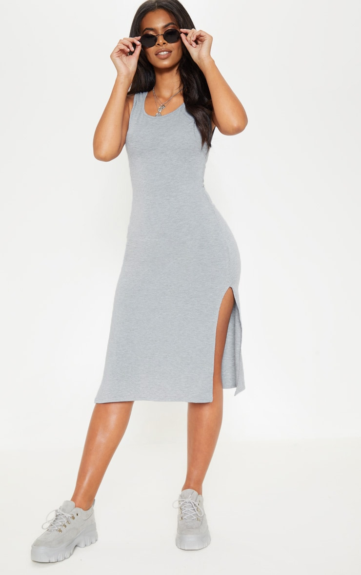 Grey High Neck Drop Arm Hole Midi Dress 1