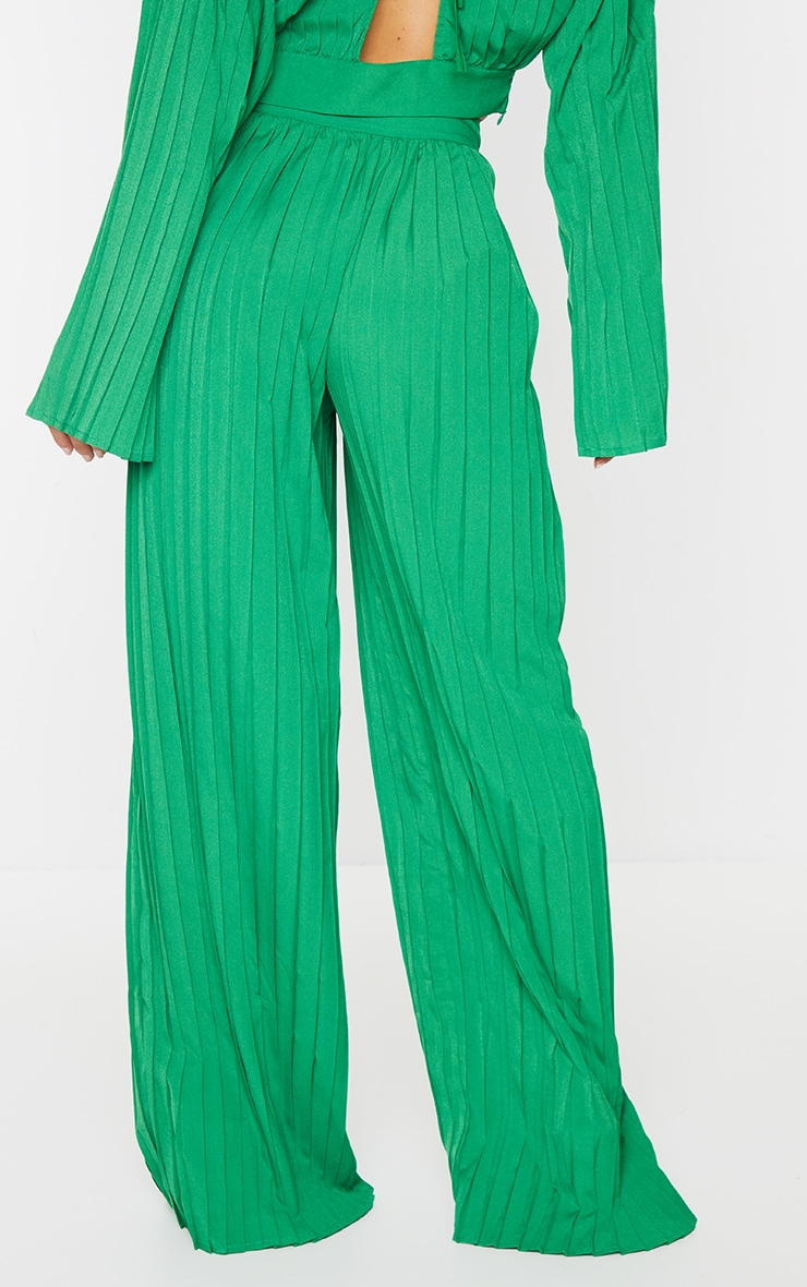 Bright Green Wide Leg Pleated Trousers 3