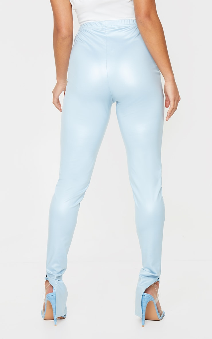 Petite Baby Blue Split Hem Coated PU Leggings 3