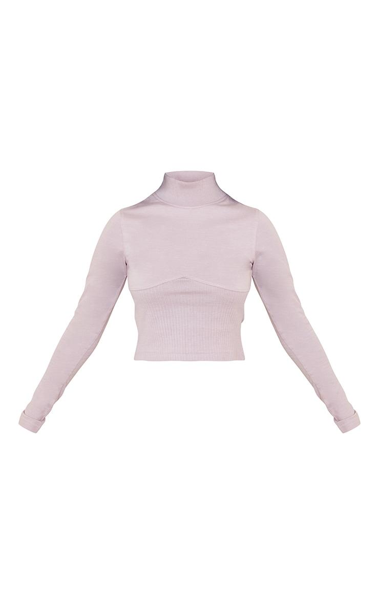 Petite Lilac Ribbed Underbust Detail Long Sleeve Crop Top 5