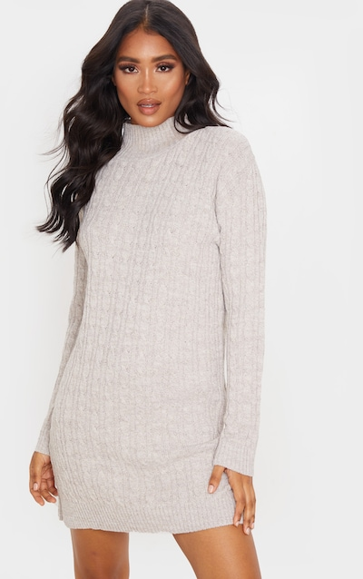 Oatmeal Narrow Cable Knit Jumper Dress