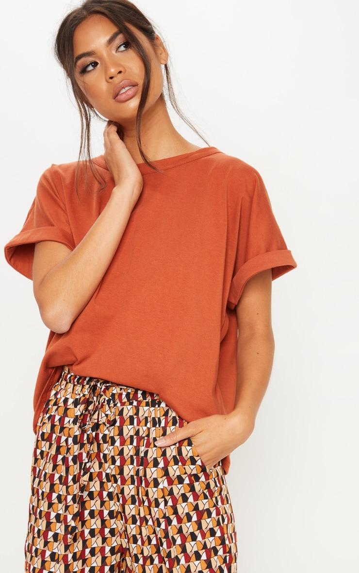 Burnt Orange Low Arm T Shirt 1