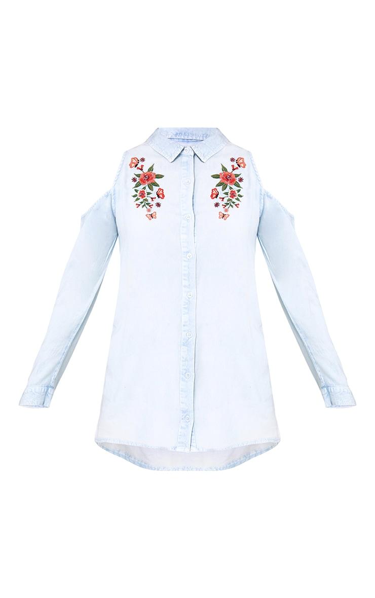 Light Wash Cold Shoulder Crop Denim Shirt 3