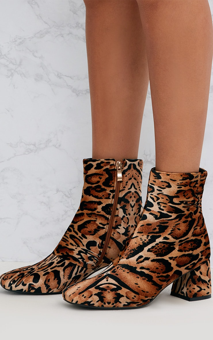 Tan Leopard Printed Velvet Ankle Boots 2
