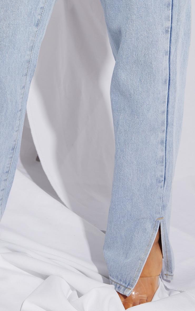 Petite Light Blue Dip Waist Split Hem Denim Jeans 4