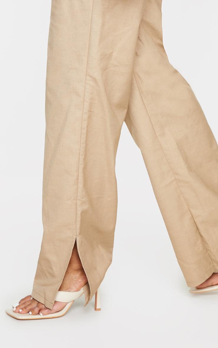 Plus Camel Elasticated Waist Wide Leg Trousers 4
