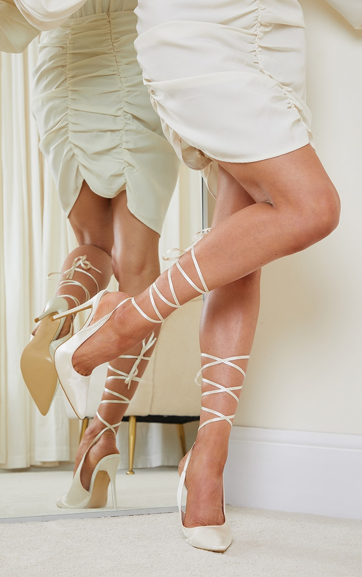 Cream Ankle Tie Court Shoes 1