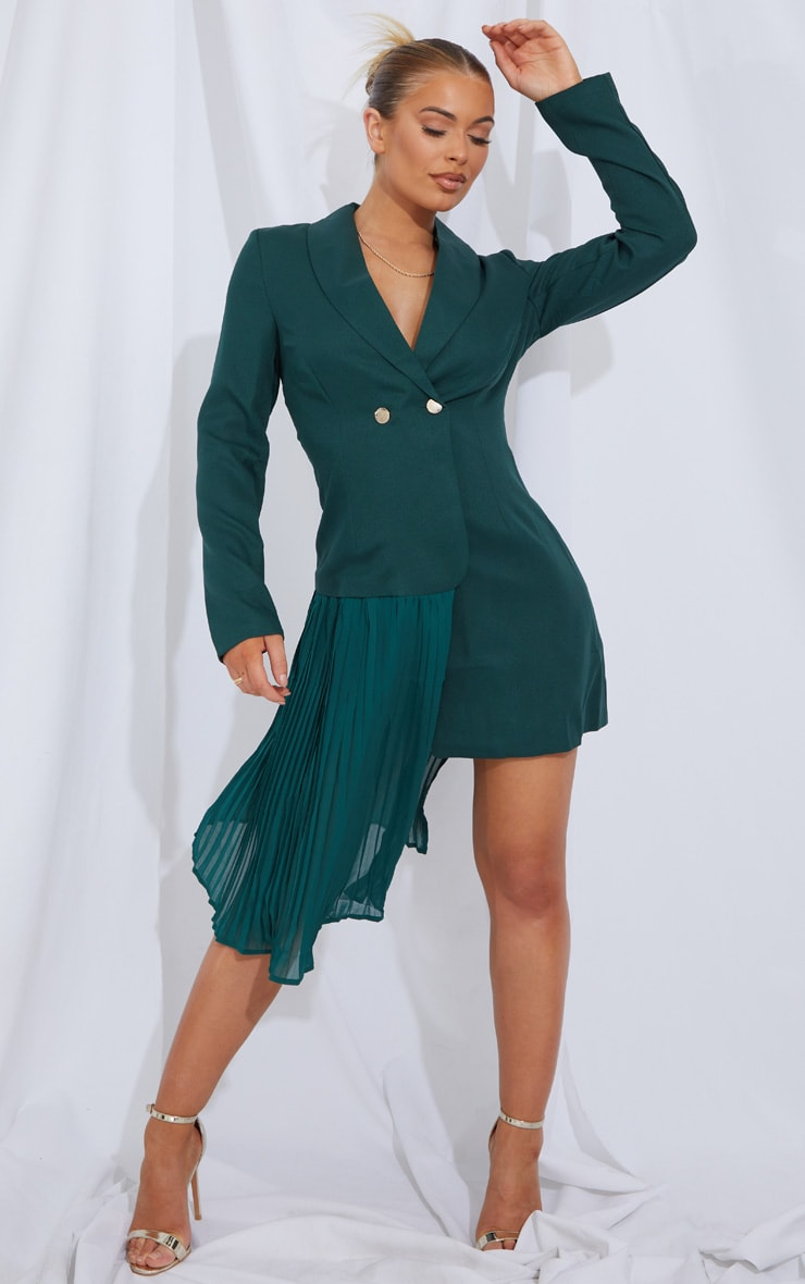 Emerald Green Pleated Drape Detail Long Sleeve Blazer Dress 1