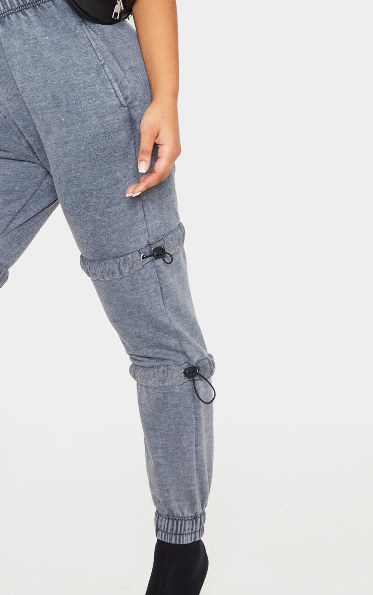 Grey Acid Wash Toggle Detail Ruched Leg Jogger 5