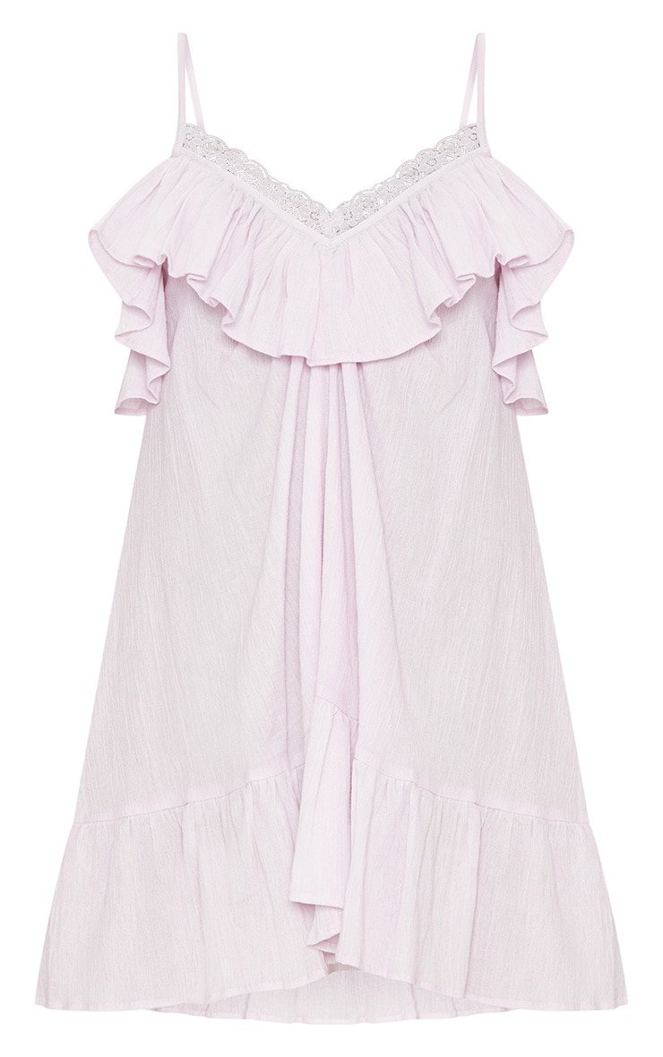 Dusty Pink Lace Trim Cheesecloth Smock Dress 3