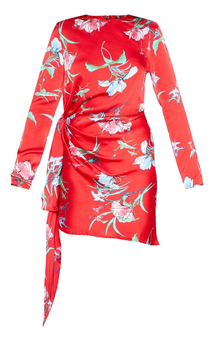 Red Floral Print Drape Detail Shift Dress 4