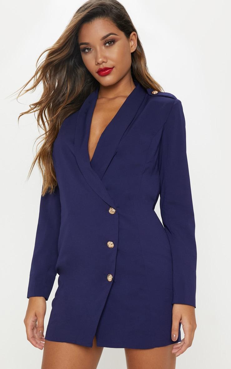 cb4d5014e7f6 Navy Millitary Blazer Dress   Dresses   PrettyLittleThing