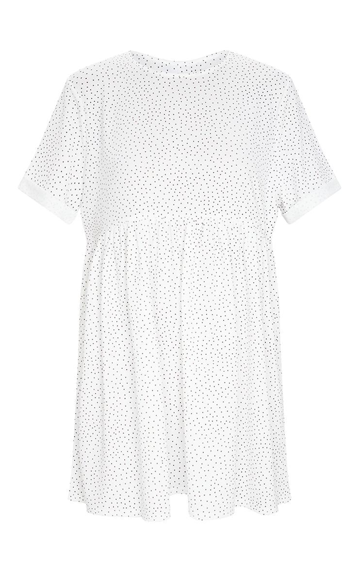 White Polka Dot Roll Sleeve Smock Dress 5