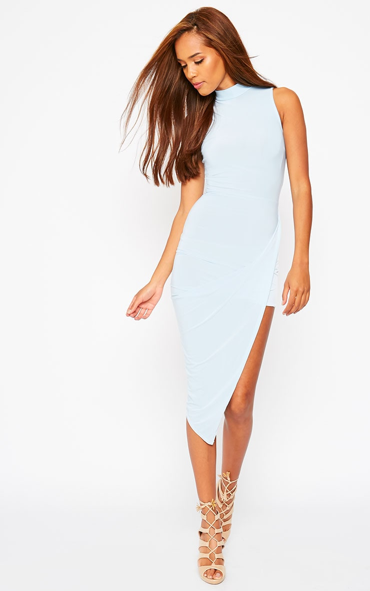Prim Blue Slinky Drape Asymmetric Dress 1