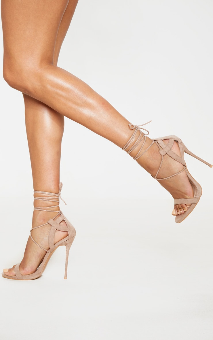 Taupe Lace Up Sandals 2