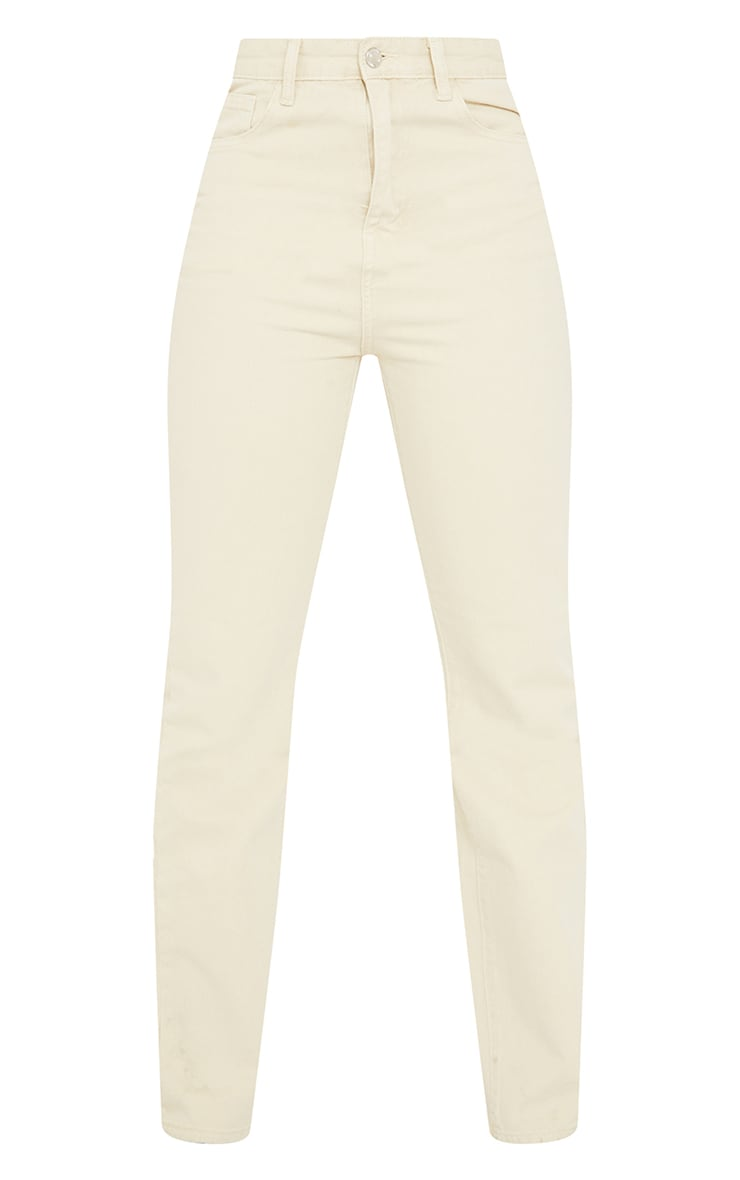 PRETTYLITTLETHING Tall Washed Stone Straight Leg Jeans 5