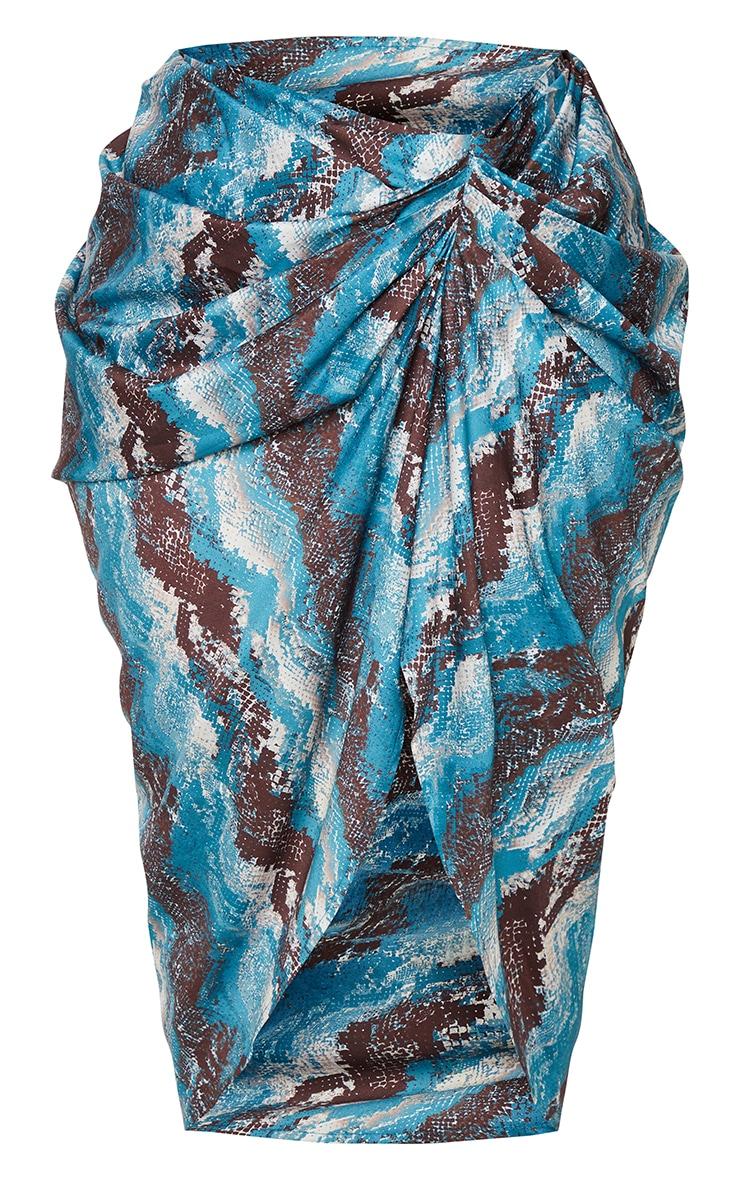 Plus Teal Snake Print  Print Ruched Side Midi Skirt 5