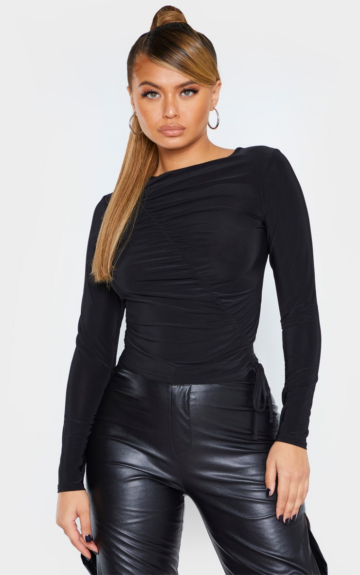 Black Slinky Ruched Front Long Top 1