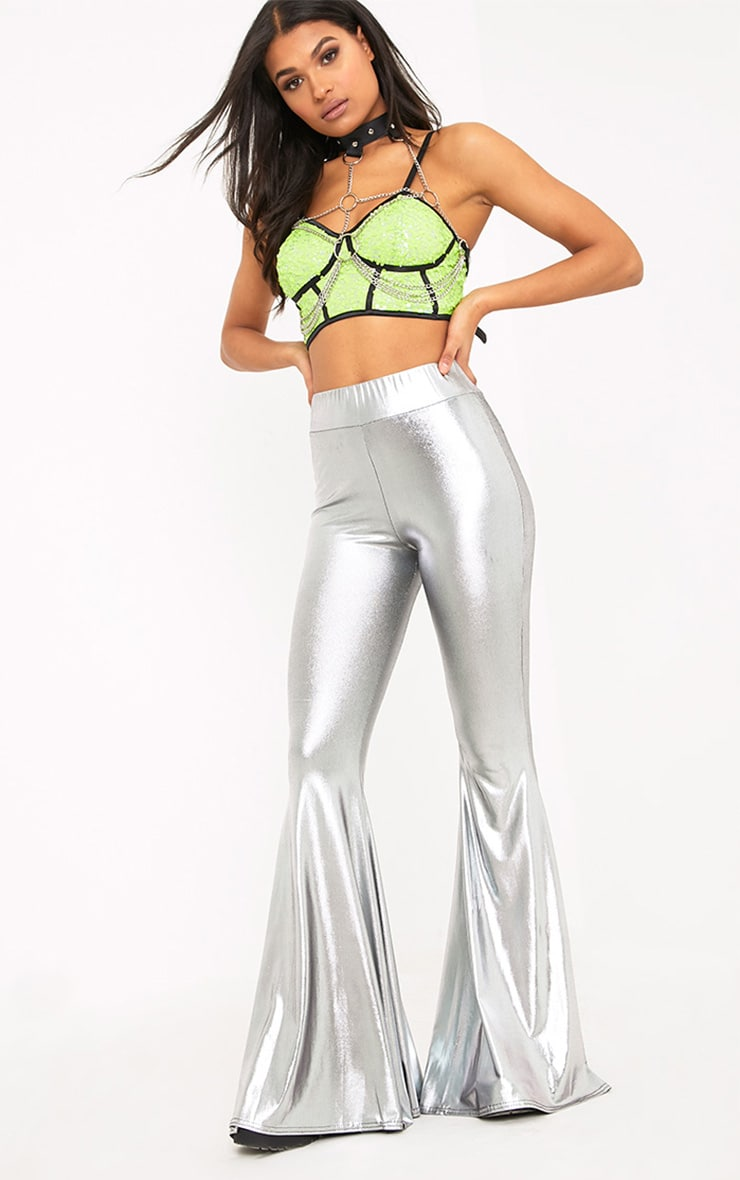 Mylene Silver Extreme Flare Trousers 1