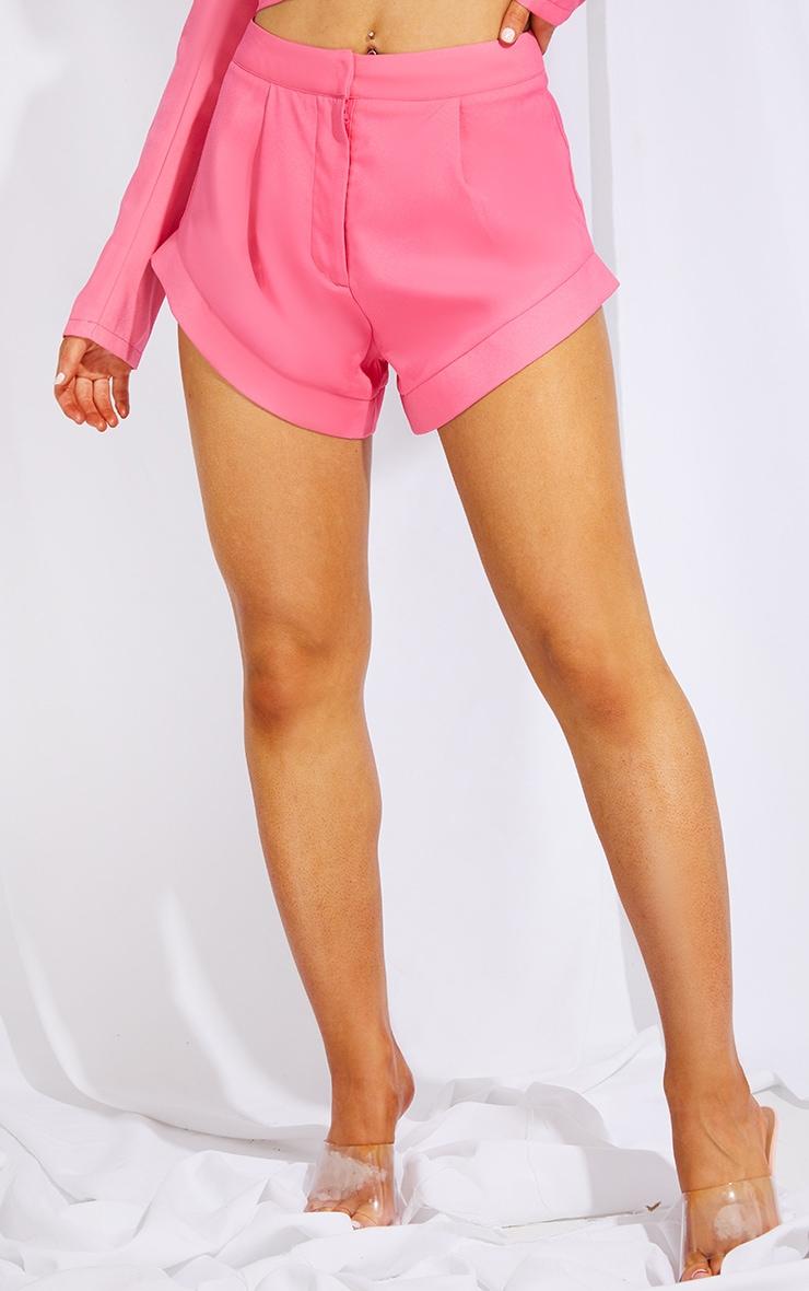 Hot Pink Woven High Leg Turn Up Hem Shorts 2