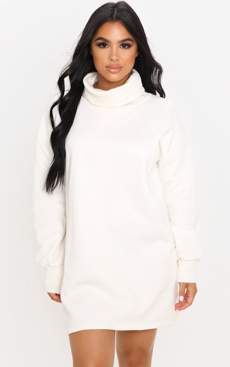 Petite Cream Oversized Sweat Roll Neck Jumper Dress 4