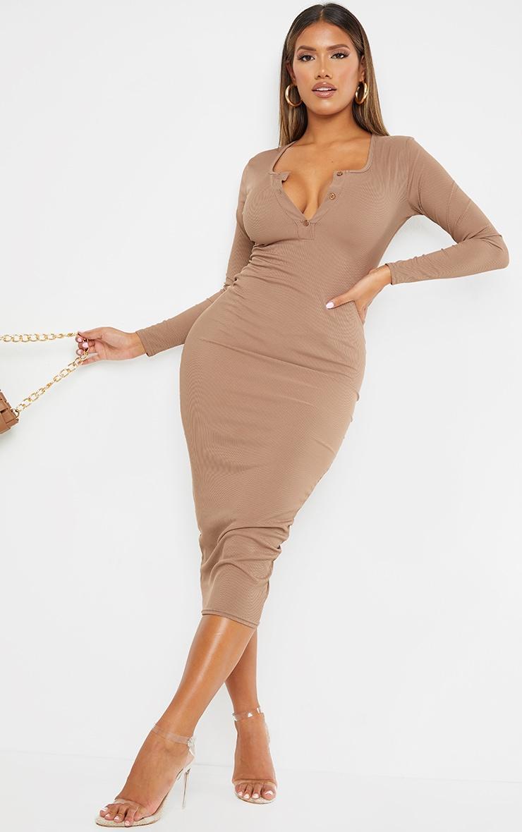 Shape Mocha Ribbed Button Front Long Sleeve Midaxi Dress 1