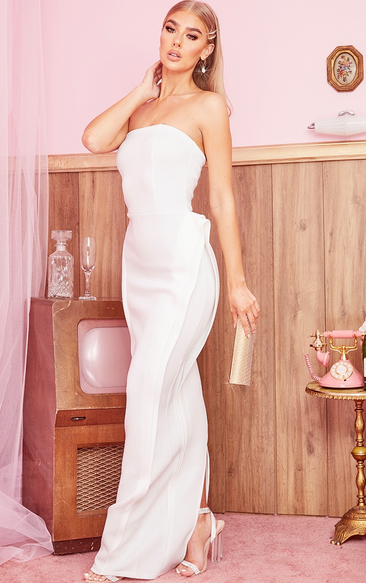 White Bandeau Pleat Detail Maxi Dress 3